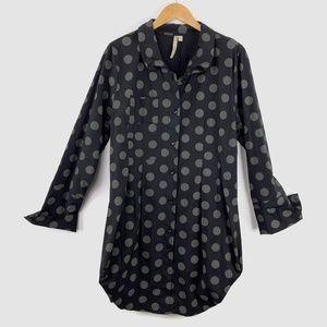 Comfy USA Tokyo Shirt Blouse Polka Dots XL